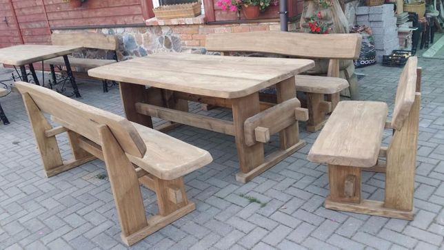 Set masa lemn masiv cu 2 canapele /2 scaune pt terasa foisor/ gradina