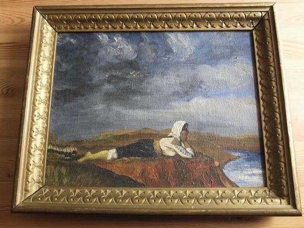 Ţărăncuţă - pictură veche românească – tablou semnat şi datat 1928