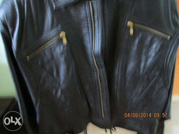 Дамско яке от естествена кожа и елек
