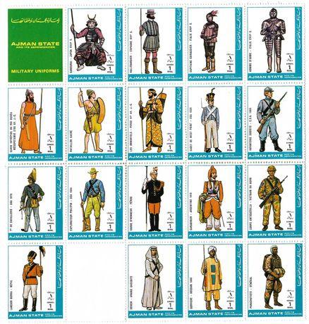 Super timbre colita mare nestampilata istorie militara uniforme vechi