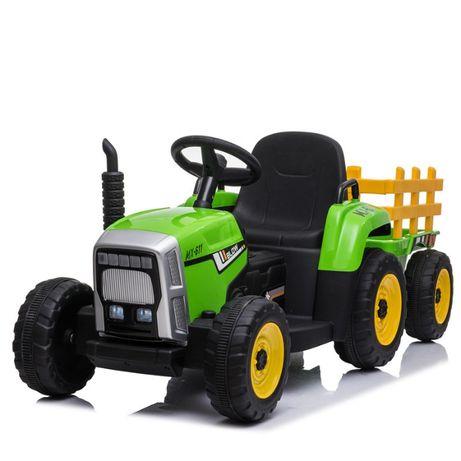 Tractoras electric BJ-611 cu remorca si telecomanda STANDARD #Verde