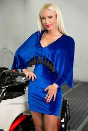 Rochie albastra din catifea cu ciucuri club /banchet/ocazie/revelion