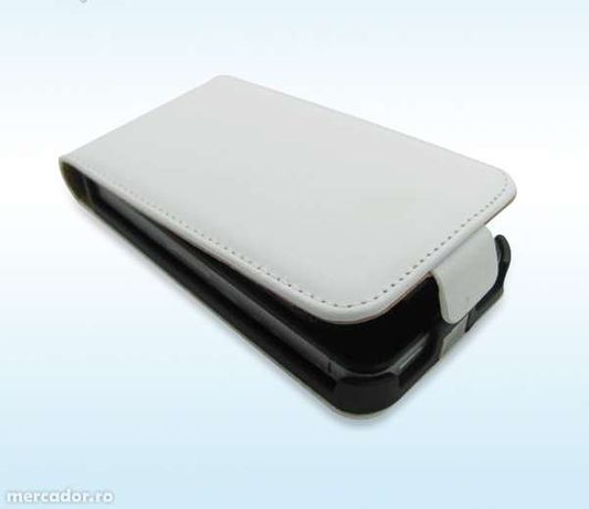 Husa Eleganta TOC FLIP PIELE ALB WHITE iPhone 3G / 3GS