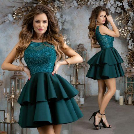 Платье коктейльное/вечернее с двухъярусной юбкой