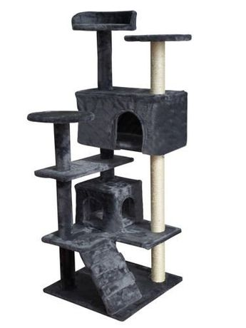 Ansamblu De Joaca Pentru Pisici, Cu 2 Casute, Plus, 127x49cm, Gri