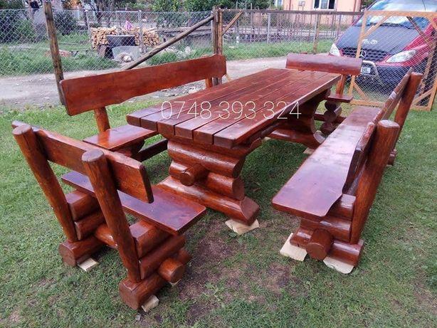 Set masa cu băncuțe  scaune  lemn