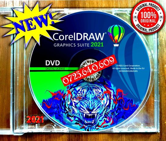 CorelDRAW Graphics Suite 2021- 3Digital Licenses Permanent-DVD SIGILAT