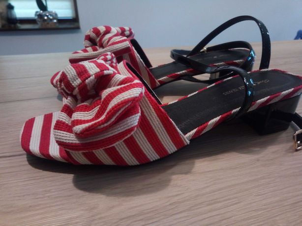 Sandale alb cu roșu