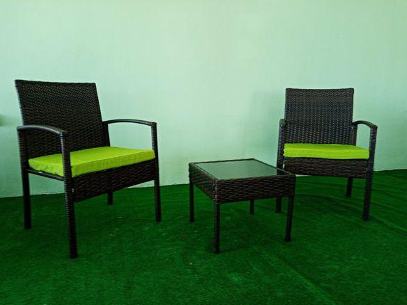 Ратанов КОМПЛЕКТ две кресла+ маса 190лв Кафяв