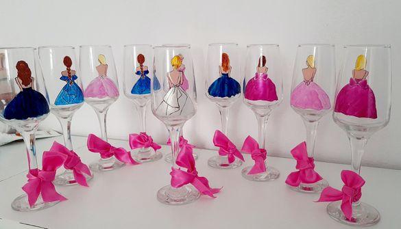 Чаши за моминско парти - различни модели - ръчно рисувани.