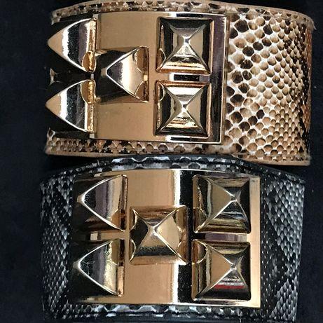 Bratara lata dama piele ecologica snake print maro gri accesorii aurii
