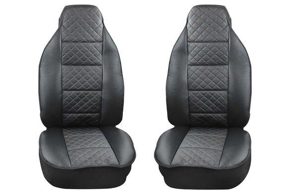 Калъфи за предни седалки тип Масажор S STYLE / Черно с бежов шев