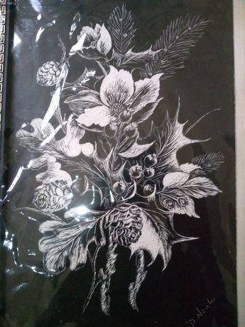 Tablou flori cu ramă și agățătoare 30/18 cm. Tehnica deosebită!