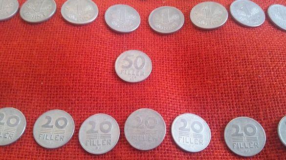 Унгарски монети, 40 броя, емисии от 1949г. до 1989г., много запазени