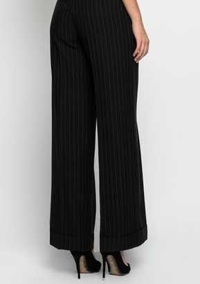 Pantaloni largi negri cu dungi mici