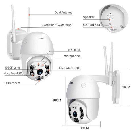 Безжична външна въртяща с 2 антени WIFI Full HD IP camera камера 5MP +