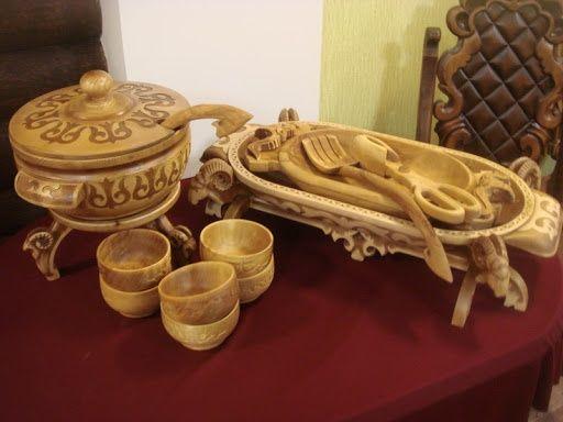 Астау, Қайың ағашынан жасалған ыдыс-табақтар, посуда, леген,ағаш бұйым