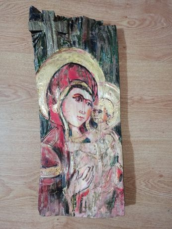 Ръчно рисувани икони върху дърво Дева Мария и младенеца и свети Георги