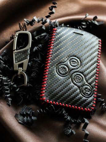 Луксозен калъф за карта/ключ Renault от естествена кожа