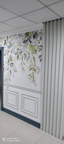 Поклейка обоев.Галтели.Покраска стен,потолков водоэмульсией.