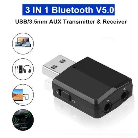 Нов стерео 3в1 bluetooth 5.0 блутут аудио адаптер приемник предавател