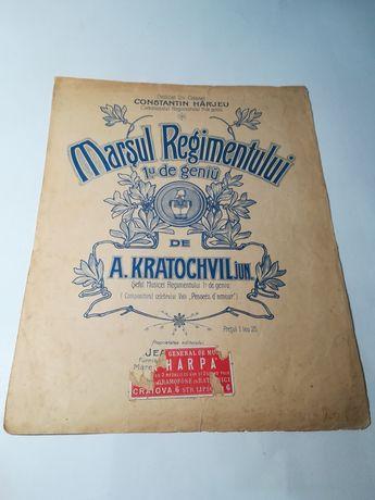Partitura veche , Marșul Regimentului 1u de geniu,A Kratochvil, WW1