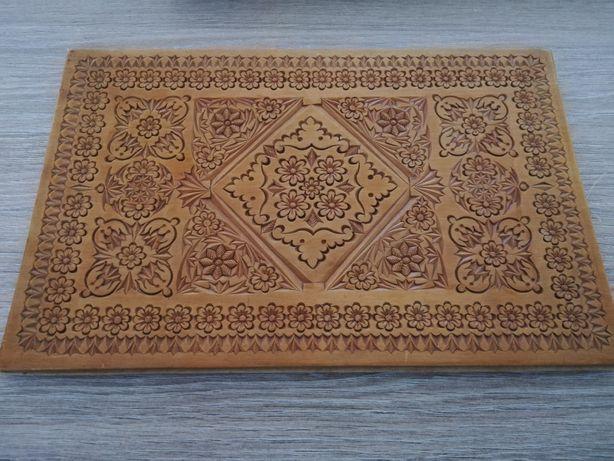 cadou inedit! deosebit tablou sculptura lemn motiv floral, 30x20, unic