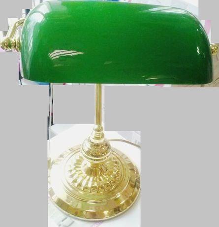лампа за бюро, зелено и синьо стъкло ,златно-сребърна основа , 99,00