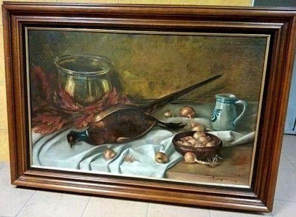 Pictura in ulei pe panza o lucrare veche semnata de dimensiuni impresi
