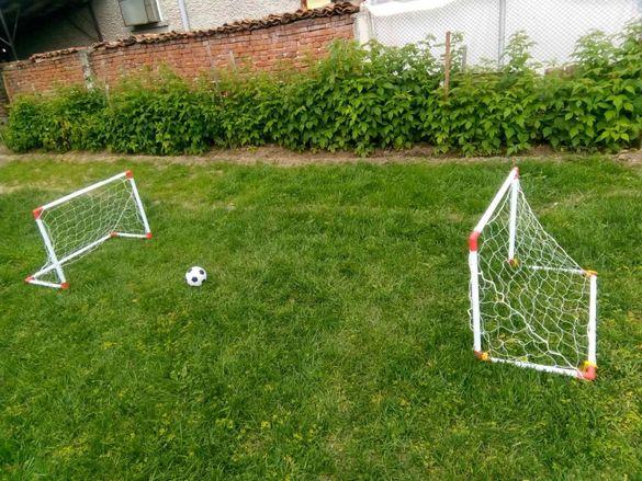 Комплект 2 бр. Футболни врати 85 x 60 x 42 см. + топка+ помпа игличка