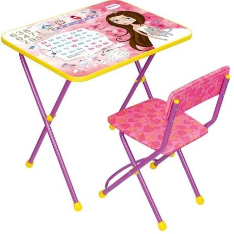 Набор школьной мебели МАЛЕНЬКАЯ ПРИНЦЕССА (стол + мяг стул) h580
