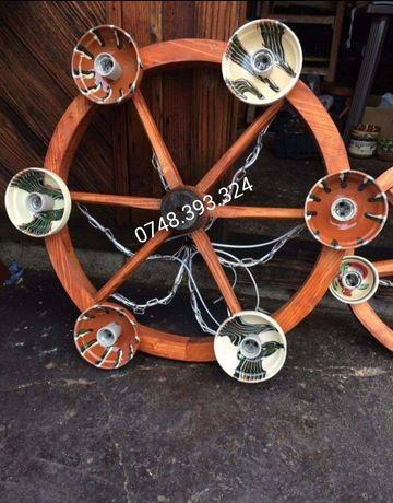 Candelabru  lustra  roata car  lemn rustic foișor