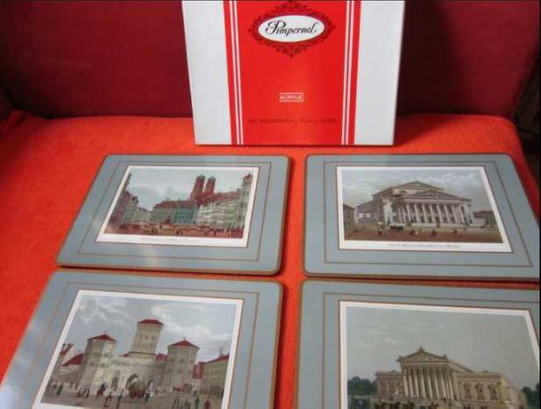 Cadou inedit -arta 'Munchen'-placemats&coasters Pimpernel England'70