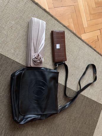 Сатенена чанта ,черна кожена чанта и дамско портмоне