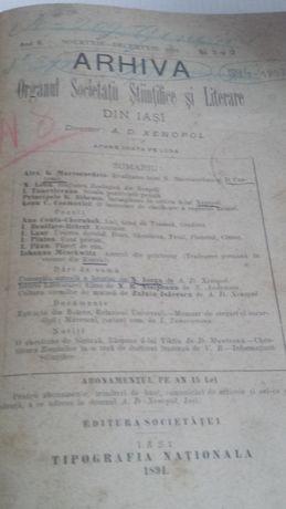 Revista Arhiva Director A D Xenopol rara