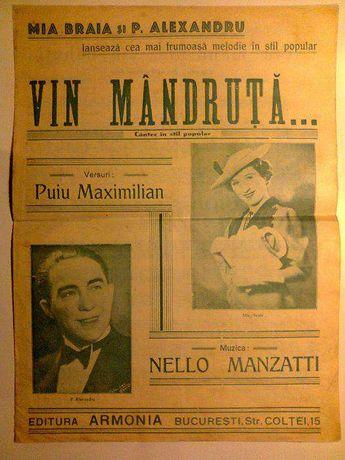 Partitura vintage - Mia Braia - Vin mândruţă, vin băbuţă - 1939