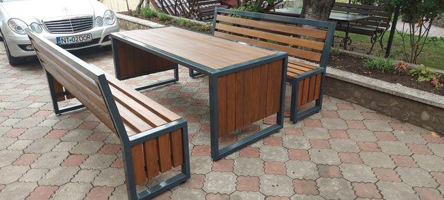Mobilier terasa, gradina, curte,banca , masa fier si lemn  HoReCa