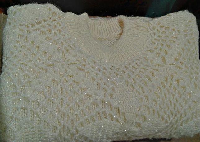 pulover din fire poliamida Christmas,masura mare,alb