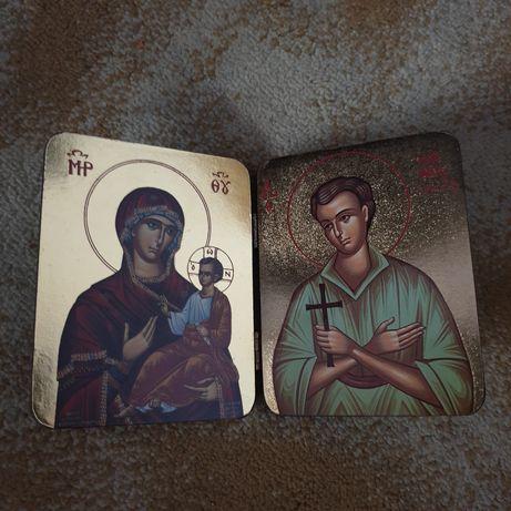 Icoana lemn stil carte veche Maica Domnului cu Prucul