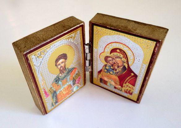 Две малки икони/диптих икона и икона върху дърво