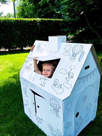 Картонный домик-раскраска! Для игр и рисования+мелки в подарок!