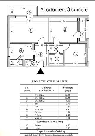 Vând apartament 3 camere decomandat 70mp