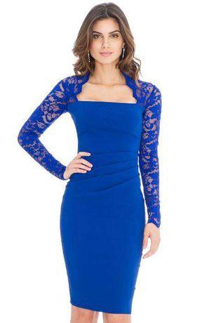 Rochie eleganta, dantela albastru regal