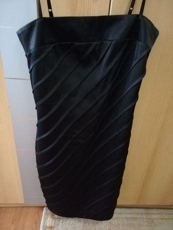 Сатенена черна рокля