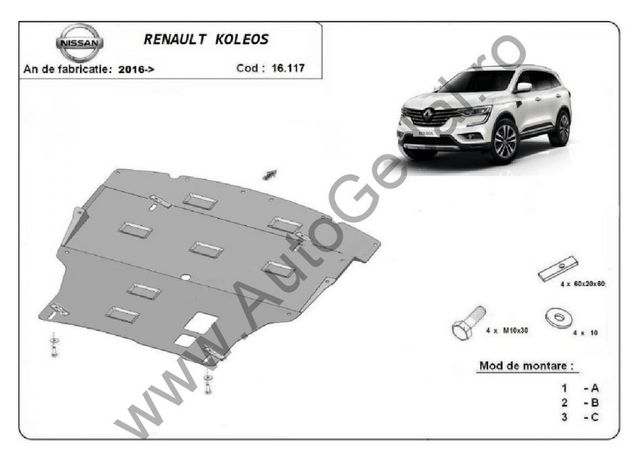 Scut motor metalic Renault Koleos 2016-prezent