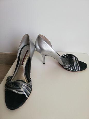 Pantofi sandale ocazie, banchet, argintii,din piele, marimea 39