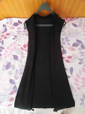 Дълъг черен велурен елек