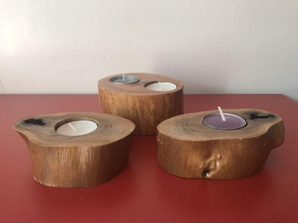 Свещници от дърво, декорация, украса, интериор