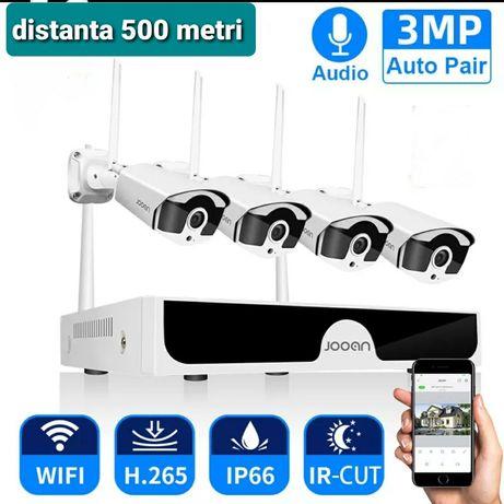 KIT 4 camere Supraveghere  Wireless  3 Megapixeli,500Metri,cu microfon