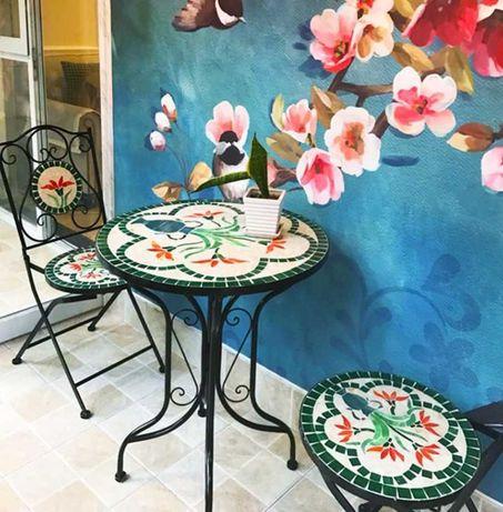 Set gradina mozaic, masa cu 2 scaune, fier, pentru terasa gradina
